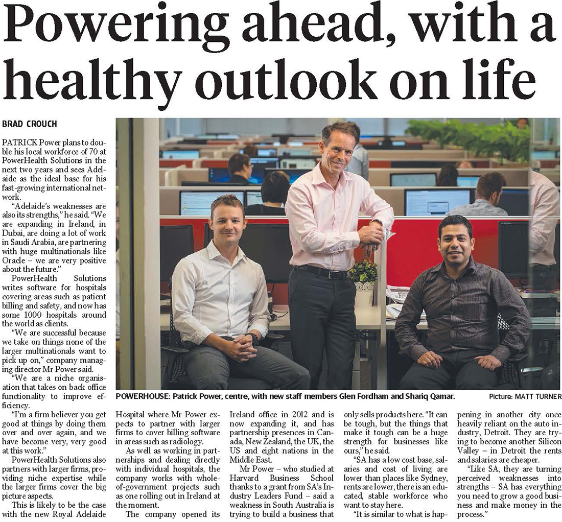 The Advertiser Business Journal 16/2/2016 - Powering Ahead, With a Healthy Outlook on Life